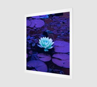 Lotus Flower Purple Turquoise Wood Print preview