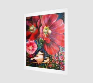 Hollyhock Garden 16 x 20 Print preview