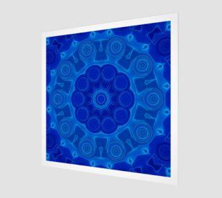 Blue Mandala Flower Art Wood Print preview