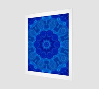 Blue Mandala Flower Art Wood Print preview