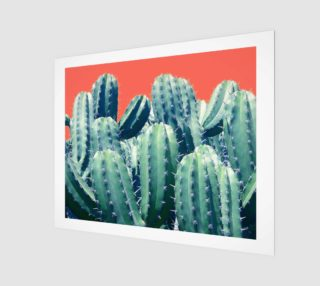 Cactus on coral Art print 20x16 preview