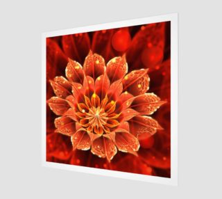 Aperçu de Wood Print with a Red Dahlia Fractal Flower and Beautiful Bokeh