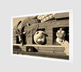 Barnyard Float-Goat, Pig, & Chicken-Sepia Toned Wall Art preview