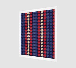 Aperçu de Blue With Red Floral Geometric Tile