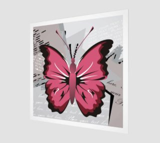 Aperçu de Pink Butterfly on Gray and White Grunge Background