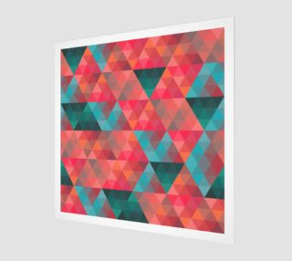 Aperçu de Retro Abstract Coral, Teal, Triangles, Geometric