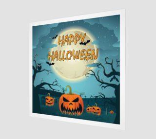 Aperçu de Halloween Poster  with Pumpkins, Moon