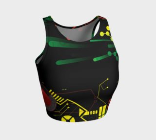 Futuristic Sci-Fi Techno Red Green Yellow Athletic Crop Top preview