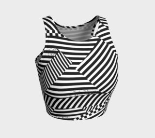 Aperçu de Black White Stripes Checkerboard Patchwork Athletic Crop Top