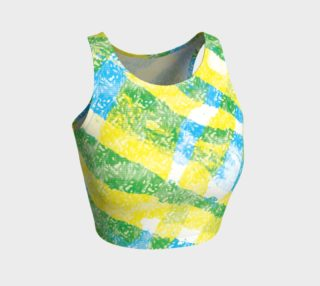 Yellow Blue Green White Paint Stripes Floral Athletic Crop Top preview