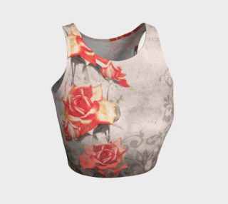 Aperçu de Vintage Red Grey Rose Grunge Floral  Athletic Crop Top