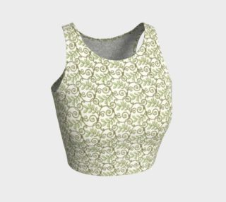 Green Cream Leafy Lace Pattern Athletic Crop Top preview
