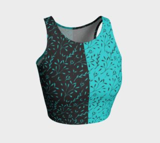 Aperçu de Two Tone Turquoise Black Leafy Floral Athletic Crop Top