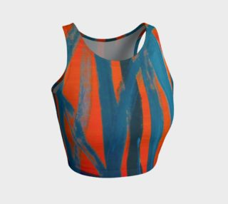 Abstract Trees in Blue and Orange Crop Top preview