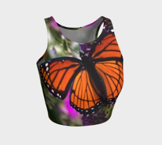 Athletic Crop Top, Monarch Butterfly & Purple Flowers preview