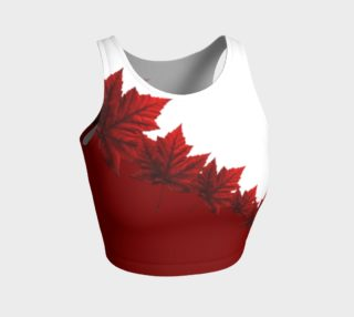 Canada Maple Leaf Sports Crop Top Red Autumn Leaves Shirts preview