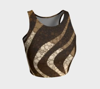 Chocolate Zebra Print Athletic Crop Tank Top  preview