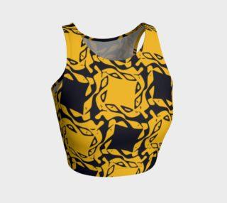 Yellow Black Geometric Pattern Athletic Crop Tank Top  preview