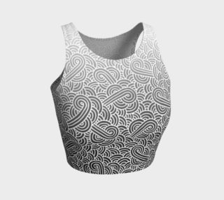 Ombre black and white swirls doodles Athletic Crop Top preview