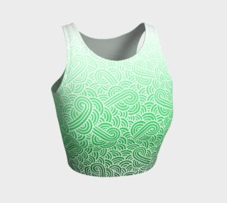 Ombre green and white swirls doodles Athletic Crop Top preview