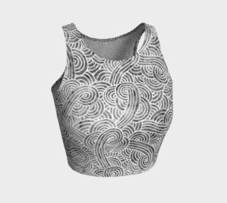 Grey and white swirls doodles Athletic Crop Top preview