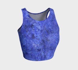 Royal blue swirls doodles Athletic Crop Top preview