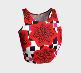 Pretty Geometric Floral Fusion Red Pink Black White preview