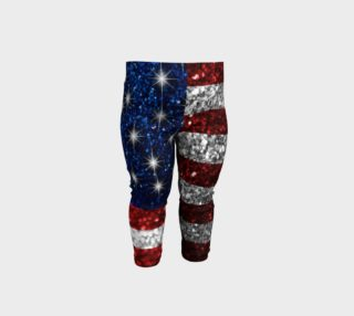 Aperçu de American Flag in Glitter Baby Leggings