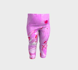 Pink Red Marble Swirl Splatter Abstract - Baby Leggings preview
