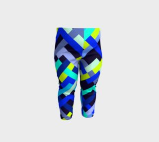 Aperçu de Blue Lime Black Abstract Stripes Pattern - Baby Leggings