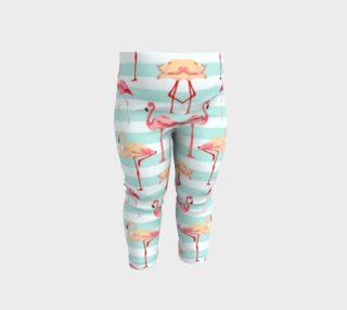 Aperçu de Flamingos on Aqua Stripes