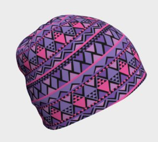 Zig Zag Pattern Design Beanie in Pink Purple and Black preview