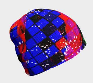 Fiery Colorful Grunge Squares and Stripes Beanie Hat preview