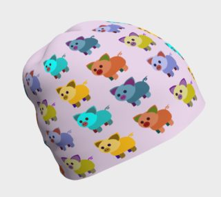 Multi-coloured piglets beanie pink preview
