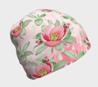 Aperçu de Bold Red Green Wild Rose Floral Beanie Hat