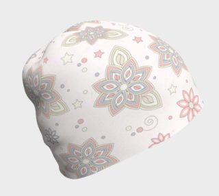 Pastel Pink Ivory Purple Abstract Flower Beanie Hat preview