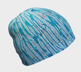 Blue Turquoise Silver Leafy Floral Beanie Hat preview