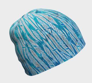 Aperçu de Blue Turquoise Silver Leafy Floral Beanie Hat