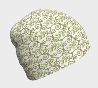 Green Cream Leafy Lace Floral Beanie Hat preview