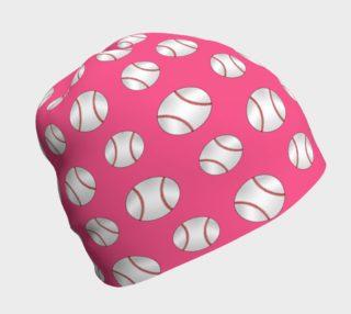 Pink baseball pattern beanie preview