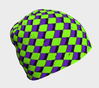 Neon Green Purple Checker Beanie  preview