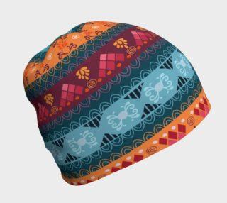 Tribal Mandala Lace Braid Print Beanie preview