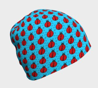 Ladybugs Pattern-Blue Beanie preview