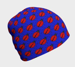 Ladybugs Pattern-Dark Blue Beanie preview