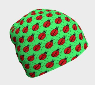 Ladybugs Pattern-Green Beanie preview