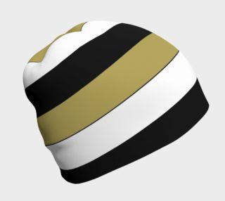 Elegant Black White Brown Gold Stripes Pattern Beanie preview