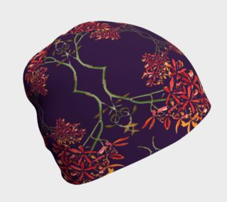 Orchids on royal purple beanie preview