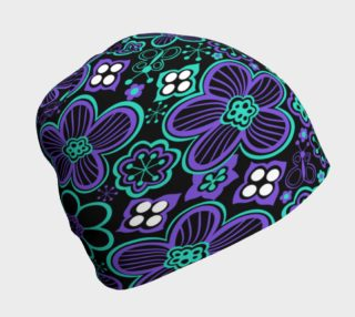 Purple and Teal Flowers Beanie preview