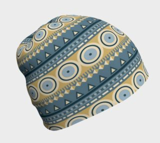 Ethnic Tribal Print - Blue and Tan Circles preview