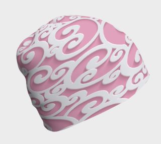 Aperçu de Pink and White Scroll Beanie